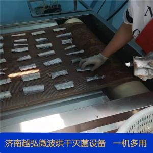 网带式带鱼微波烘烤设备 海产对虾微波烘干灭菌生产线