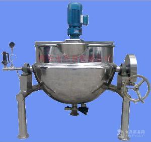 可倾式手动蜗夹层锅锅体的倾斜度可大于120°,结构简单,操作轻